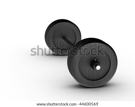 Barbell side view on white background. High quality 3d render.