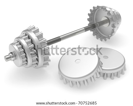 Barbell with beer corks instead disks rendered on white background
