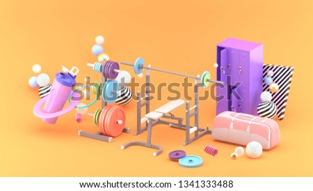 Barbells, lockers and bags amidst colorful balls on an orange background.-3d rendering.