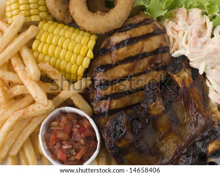 Barbeque Chicken and Ribs with Fries Slaw and Salsa