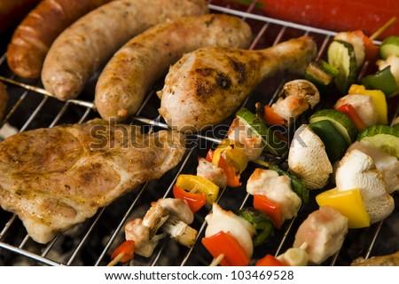 Barbeque in the garden, really tasty dinner!