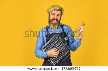 Barbeque related things. Barbeque Grill Street Food. Eat outdoors in happy family. holiday celebration concept. man cooking to eat barbecue. Grill and bbq. Summer barbecue cooking. funny picnic. Stock photo ©