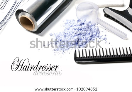 Barber Accessories for painting hair on a white background