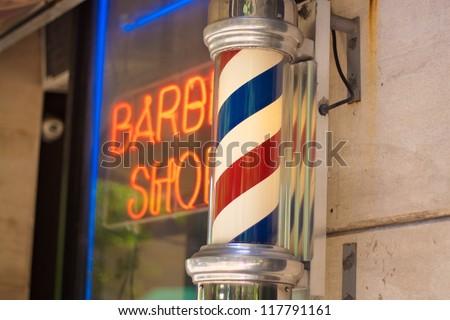 barber pole Pole of the barber shops of Upper West Side New York city.