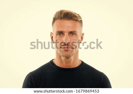 Barber providing grooming. Handsome man isolated on white. Man with shaped beard hair. Mustache barber. Barber services. Hairdressing and styling. Barbershop and hair salon. Barber shop for men only.