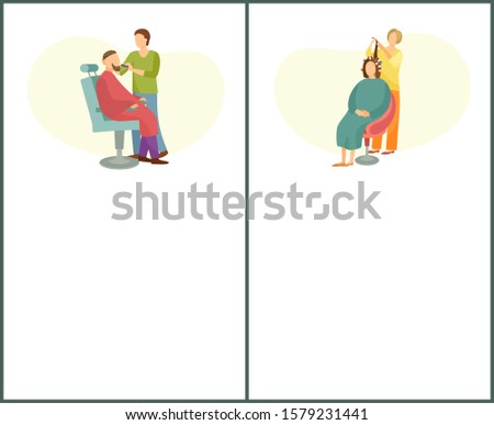 Barber shop and hair styling web posters hairdresser cutting or shaving beard and mustaches to man in armchair. Hairstyle salons with hairdressers