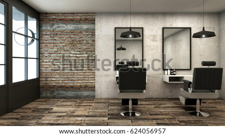 Barber shop design Rusty Loft -3D render