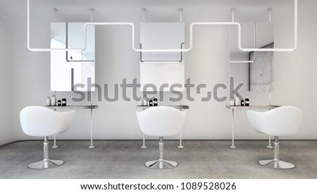 Barber shop Modern Minimal design white tone - 3D render