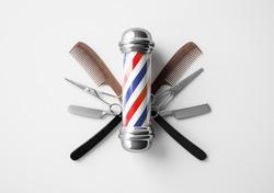 Barber shop pole background concept