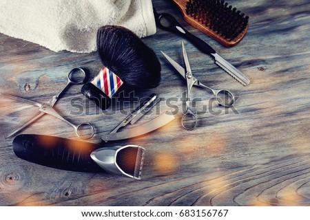 barber shop tools on old wooden ...