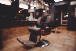 Barbershop. Blurred background hairdresser and hair salon, barber shop for men