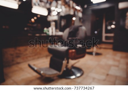Barbershop. Blurred background hairdresser and hair salon, barber shop for men