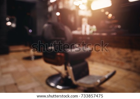 Barbershop. Blurred background modern hairdresser and hair salon, barber shop men.