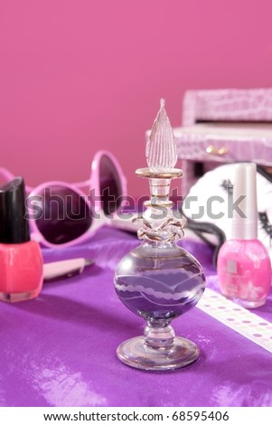 barbie style fashion makeup vanity dressing table pink and purple still photo