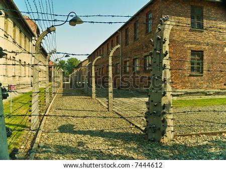 Barbwire fence in Auschwitz I concentration camp in Poland