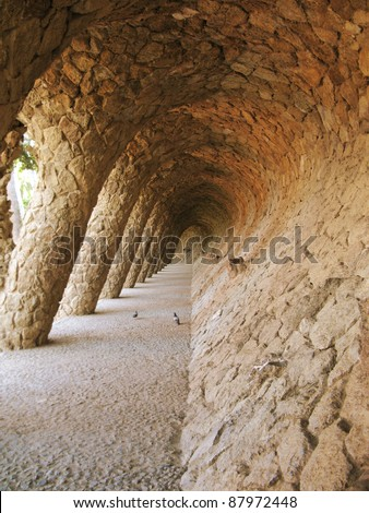 Barcelona: amazing arches and columns from Parc Guell, the famous and beautiful park designed by Antoni Gaudi, one of the highlights of the city