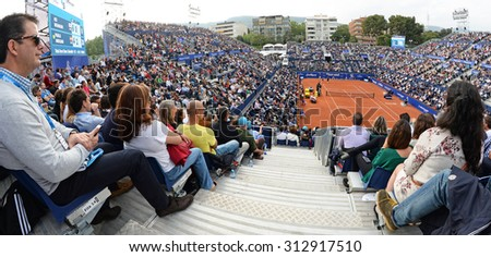 BARCELONA - APR 26: Spectators at the ATP Barcelona Open Banc Sabadell Conde de Godo tournament on April 26, 2015 in Barcelona, Spain. #312917510