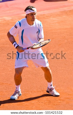 BARCELONA - APRIL 29: Spanish tennis player David Ferrer in action during his final match against Rafael Nadal at Barcelona tennis tournament Conde de Godo on April 29, 2012, in Barcelona, Spain.