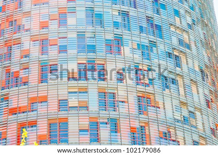 BARCELONA - APRIL,26: wall of Torre Agbar tower on April 26, 2012 in Barcelona, Spain.  The tower measures a total of 50693 square metres, of which 30000 are offices.