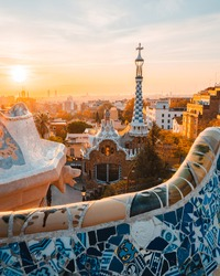 Barcelona at sunrise viewed from park Guell, Barcelona