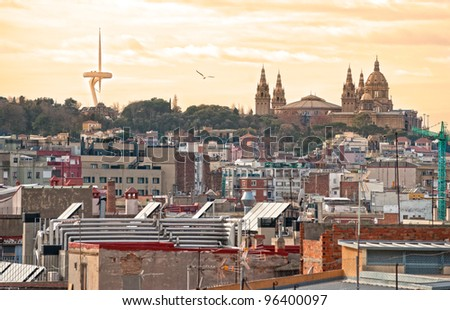 Barcelona at sunset, with the Telecommunication tower and the Mnac, the National museum of art of Catalunya. Spain.