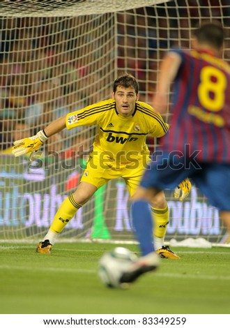 BARCELONA - AUG 17: Iker Casillas of Real Madrid in action during the Spanish Supercup football match between Barcelona vs Real Madrid at the New Camp Stadium on August 17, 2011 in Barcelona, Spain - stock photo