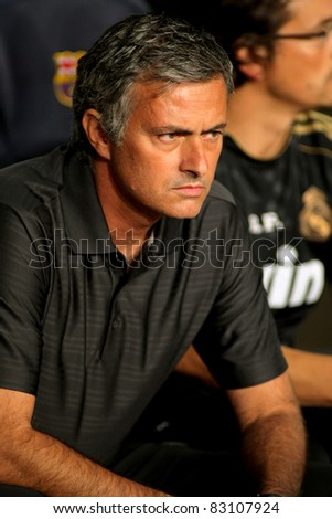BARCELONA - AUG 17: Jose Mourinho of Madrid during the Spanish Supercup football match between Barcelona vs Real Madrid at the New Camp Stadium in Barcelona, Spain on August 17, 2011