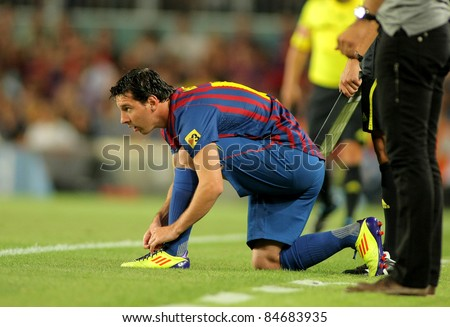 BARCELONA - AUG, 22: Leo Messi of FC Barcelona during Joan Gamper Trophy match between FC Barcelona and SSC Napoli at Nou Camp Stadium in Barcelona, Spain. August 22, 2011