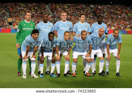 BARCELONA - AUG 19: Manchester City Team before the Trophy Joan Gamper's match between FC Barcelona and Manchester City at Nou Camp Stadium in Barcelona, Spain. August 19, 2009 - stock photo