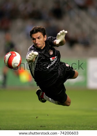 BARCELONA - AUG 16: Olympiacos Goalkeeper Tomislav Butina during a friendly match between Espanyol and Olympiacos at the Olympic Stadium on August 16, 2007 in Barcelona, Spain