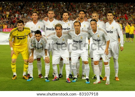 BARCELONA AUG 17 Real Madrid Team pose before the Spanish Supercup football match between Barcelona vs Real Madrid at the New Camp Stadium in Barcelona Spain on August 17 2011
