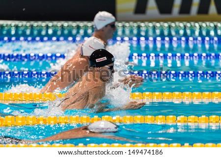 BARCELONA - AUGUST  2:  Daniel Gyurta (black cap, Hungary) in Barcelona FINA World Swimming Championships on August 2, 2013 in Barcelona, Spain