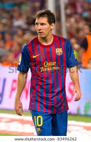 BARCELONA - AUGUST 17: Leo Messi during the Spanish Supercup final match between FC Barcelona and Real Madrid, final score 3 - 2, on August 17, 2011 in Camp Nou stadium, Barcelona, Spain.