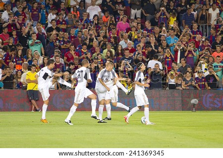 BARCELONA - AUGUST 17: Real Madrid players in action at the Spanish Super Cup final match between FC Barcelona and Real Madrid, 3 - 2, on August 17, 2011 in Camp Nou stadium, Barcelona, Spain.