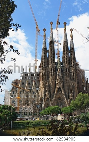 BARCELONA - AUGUST 31: Sagrada Familia cathedral on August 31, 2010 in Barcelona. Sagrada Familia is the most famous building created by Antonio Gaudi.