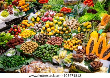 Barcelona Boqueria market worldwide fruits display
