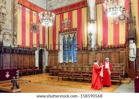 BARCELONA, CATALONIA - APRIL 23:  Gothic architecture of city hall in April 23, 2013 in Barcelona, Catalonia.  Hall named Council of One Hundred dated 1369 - 1373