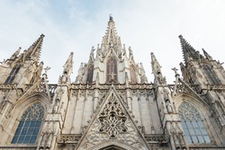 Barcelona Cathedral Facade in the Gothic Old Quarter. Medieval church basilica landmark of Barcelona. Also known as The Cathedral of the Holy Cross and Saint Eulalia. Gothic architecture.