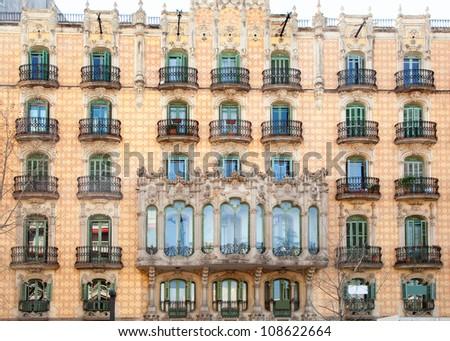 Barcelona city facade with balconade in Catalonia Spain