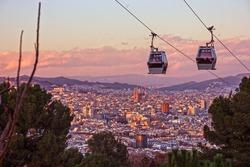 Barcelona city view, Spain. Cable car, Teleferic de Montjuic