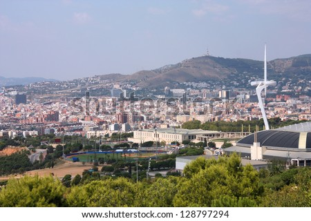 Barcelona cityscape - aerial view seen from Montjuic hill.