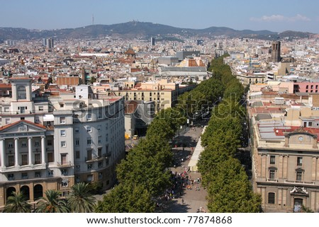 Barcelona cityscape. Aerial view seen from the Columbus Column. Famous Rambla avenue.