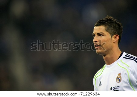 BARCELONA 13 Cristiano Ronaldo of Real Madrid during a spanish league match between Espanyol and Real Madrid at the Estadi Cornella on February 13 2011 in Barcelona Spain