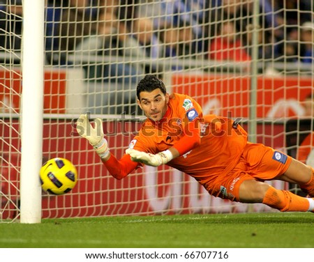 BARCELONA - DEC 5: Juan Pablo Colinas of Sporting Gijon during a Spanish League match between Espanyol and Gijon at the Estadi Cornella on December 5, 2010 in Barcelona, Spain