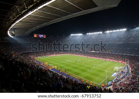 BARCELONA - DECEMBER 13: Nou Camp stadium, spanish soccer league, FC Barcelona - Real Sociedad, 5 - 0. December 13, 2010 in Barcelona (Spain).