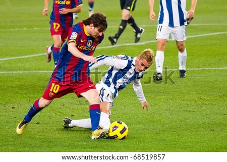 BARCELONA - DECEMBER 13: Nou Camp stadium, Spanish Soccer League match: FC Barcelona - Real Sociedad, 5 - 0. In the picture, Leo Messi in action. December 13, 2010 in Barcelona (Spain).