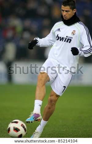 BARCELONA - FEB 13: Cristiano Ronaldo of Real Madrid before a spanish league match between Espanyol and Real Madrid at the Estadi Cornella on February 13, 2011 in Barcelona, Spain