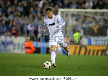 BARCELONA FEB 13 Cristiano Ronaldo of Real Madrid during a spanish league match between Espanyol and Real Madrid at the Estadi Cornella on February 13 2011 in Barcelona Spain