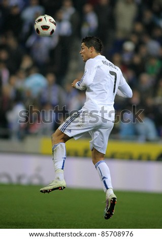 BARCELONA - FEB, 13: Cristiano Ronaldo of Real Madrid in action during a spanish league match between Espanyol and Real Madrid at the Estadi Cornella on February 13, 2011 in Barcelona, Spain