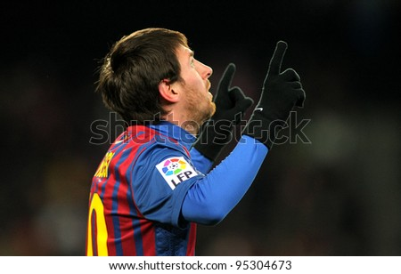 BARCELONA FEB 4 Leo Messi of FC Barcelona celebrates goal during spanish league match between FC Barcelona vs Real Sociedad at the Camp Nou stadium on February 4 2012 in Barcelona Spain